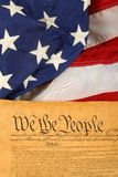 United States Constitution And Flag -- Portrait Orientation Stock Images