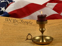 United States Constitution, Candle, and Flag Royalty Free Stock Photos