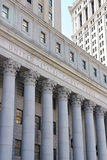 United States Court House. Facade of the United States Court House of the Southern District of New York in Lower Manhattan, New York, NY, USA of September 9 Stock Photography