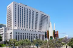 The United States Courthouse Building Los Angeles. LOS ANGELES, CALIFORNIA - JUNE 12, 2018: The United States Courthouse Building at Main Street and Temple stock photo