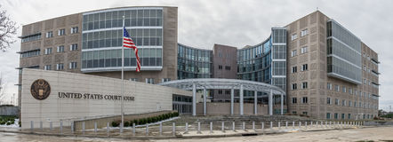 United States Courthouse in Jackson, Mississippi. Exterior panorama of the federal courthouse in Jackson, Mississippi Stock Images