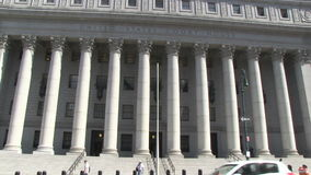 United States Courthouse in New York City. The Thurgood Marshall United States Courthouse in New York City at Foley Square stock footage