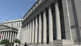 United States Courthouse in New York City. The Thurgood Marshall United States Courthouse in New York City at Foley Square stock video footage