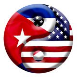 United states and Cuba - Nation flags on Yin Yang symbol Stock Images