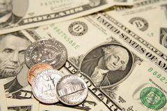 United States currency. Consisting of paper bills and coins Stock Images