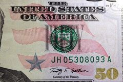 United States Currency Fifty Dollar Bill Royalty Free Stock Photos