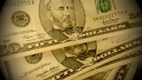 United States Currency Fifty Dollar Bills stock video footage