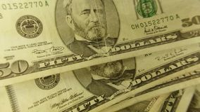 United States Currency Fifty Dollar Bills stock footage