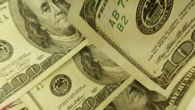 United States Currency One Hundred Dollar Bills stock video