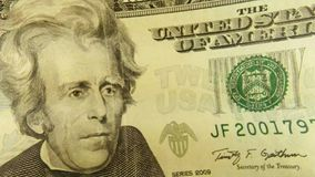 United States Currency Twenty Dollar Bill. Banking and accounting concept fragment of twenty dollar bill - President Jackson stock video