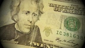 United States Currency Twenty Dollar Bill. Banking and accounting concept fragment of twenty dollar bill - President Jackson stock footage