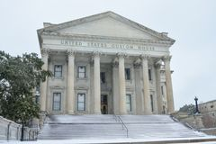 United States Custom House, Snowstorm of 2018. The United States Custom House on East Bay Street is covered in snow as a rare storm passes through Charleston Stock Photos