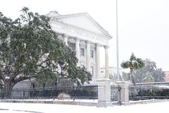 United States Custom House, Snowstorm of 2018. The United States Custom House on East Bay Street is covered in snow as a rare storm passes through Charleston Royalty Free Stock Images