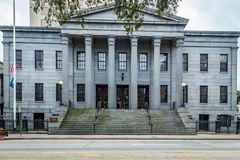 United States Customs House Savannah. SAVANNAH, GEORGIA MARCH 1, 2018 The United States Customs House in Savannah opened in 1852 and is built on the site of the royalty free stock photography