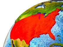 United States on 3D Earth. Model with visible country borders. 3D illustration stock photos