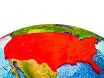 United States on 3D Earth. With visible countries and blue oceans with waves. 3D illustration royalty free illustration