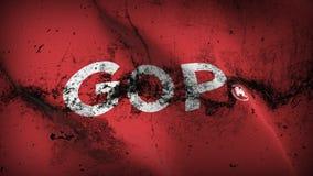 United States democratic GOP logo grunge dirty flag waving on wind. stock illustration