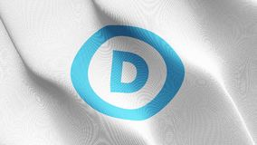 United States democratic party logo flag waving on wind. stock illustration