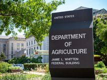 United States Department of Agriculture Jamie L. Whitten federal building entrance sign royalty free stock photo