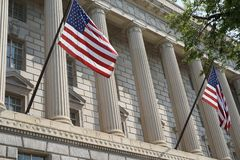 United States Department of Finance facade. The United States Department of Commerce is the Cabinet department of the United States government concerned with royalty free stock photo