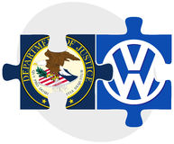 United States Department of Justice and Volkswagen. ISTANBUL, TURKEY - OCTOBER 21, 2015: United States Department of Justice and Volkswagen in puzzle form on Stock Photography