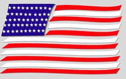 United states divided. Illustration of USA flag with bars separated Stock Photo