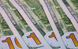 United States dollar banknotes. Cash money closeup photo. Currency background. Stock Photos