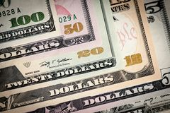United States dollars closeup. United States various dollar bills macro shot Stock Photos