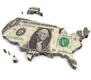 United States of Dollars. An illustration of a map related to the view that wealth and consumer driven economics are at the heart of the United States Royalty Free Stock Photos