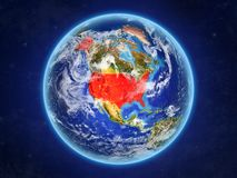 United States on Earth from space. United States from space. Planet Earth with country borders and extremely high detail of planet surface and clouds. 3D stock illustration