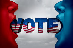 United States Election Voter. And American vote campaign fight as Republican versus Democrat as two people with open mouths with text as a presidential or Stock Photos