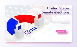 2018 United States elections. US midterm elections 2018: the race for Congress. Symbol of republican government. Decision of voter. Democracy campaign. Vote vector illustration