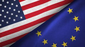 United States and European Union two flags textile cloth, fabric texture. United States and European Union flags together textile cloth, fabric texture stock photography