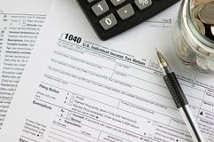 United States federal income tax return. IRS 1040 documents Royalty Free Stock Photos