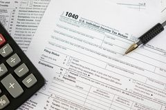United States federal income tax return. IRS 1040 documents Stock Photos