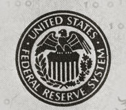 United states federal reserve. System symbol from 100 dollar bill Royalty Free Stock Photography