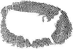 United States Fingerprint. United States Map within a Fingerprint Stock Image