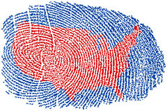 United States Fingerprint. United States Map within a Fingerprint Stock Photography