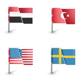 United states, finland, turkey, yemen flags isolated Royalty Free Stock Photography