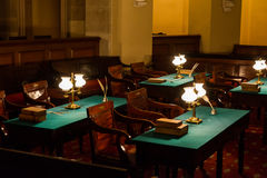 United States First Congress Capitol Underground Meeting Room Hi. Story Colonial Times Oil Lamps Chairs Desks Royalty Free Stock Images