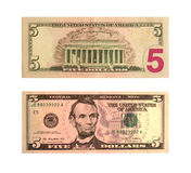 United States five-dollar bill isolated Royalty Free Stock Photography