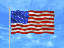 United States Flag 1. Illustration of waving American Flag on blue sky Stock Photography