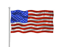 United States Flag 2. Illustration of waving American Flag on white Stock Images