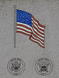 A United States Flag on an Army and Navy Memorial. A U.S. Flag Cast In Stone on a Army and Navy Memorial stock image