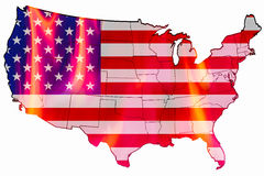 United States flag as map overlays fire inside. On white background Stock Photos