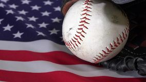 United States Flag and baseball stock footage