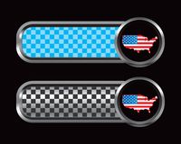 United states flag on blue and black checkered tab Royalty Free Stock Photos