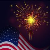 4th of July yellow red fireworks and flag. United States flag and celebration golden red fireworks vector background. Independence Day, 4th of July holidays royalty free illustration