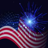 Radiant blue fireworks and United States flag. United States flag and celebration radiant blue fireworks vector background. Independence Day, 4th of July Royalty Free Stock Images