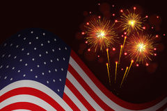 United States flag and celebration sparkling fireworks Stock Photo